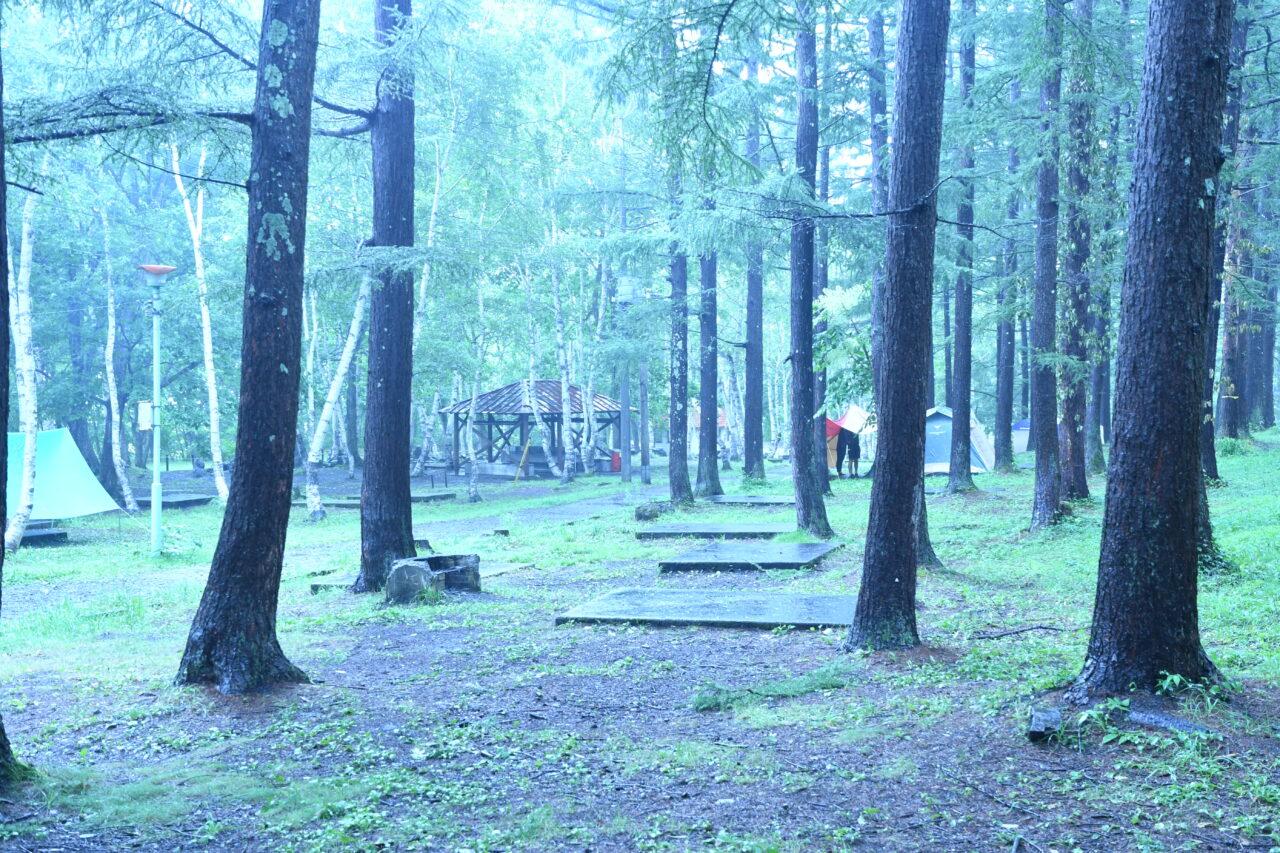 宝台樹キャンプ場 雨